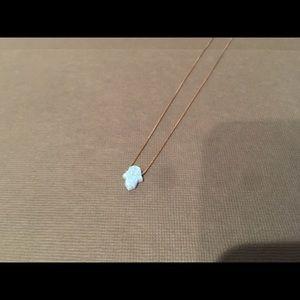 Blue opal hamsa necklace